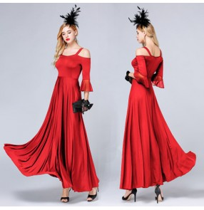 Women's ballroom dresses female red dew shoulder half sleeves tango waltz competition dresses