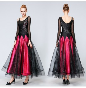 Competition ballroom dress for women female black with fuchsia diamond long length professional waltz tango dress