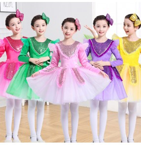 Girls jazz dance dress paillette Halloween party photos cosplay modern dance princess competition dresses