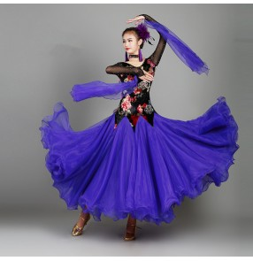 Women's ballroom dresses flamenco velvet floral competition stage performance waltz tango long length dresses