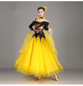 Ballroom dresses competition yellow purple long sleeves stage performance waltz tango chacha dancing costumes dresses