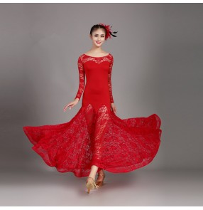 Women's girls ballroom dresses lace long sleeves red blue competition stage performance waltz tango chacha dancing costumes