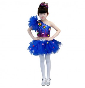 Kids jazz dance dresses royal blue paillette party show flower girls modern dance street stage  performance chorus singers dancers dancing costumes outfits