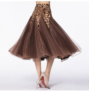 Leopard ballroom skirt for women female competition stage performance waltz tango dancing skirts