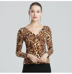 Women's ballroom latin dance tops leopard black stage performance competition professional rumba chacha dancing blouses