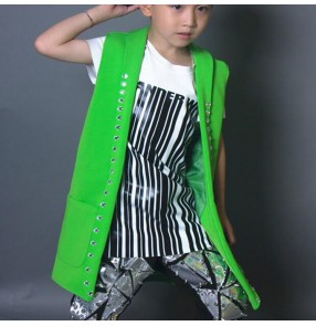 Boy jazz dance vests green long length drummer fashion drummer stage performance singers host hiphop gogo street dance tops