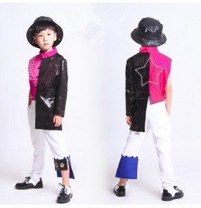 Boys jazz dance costumes black fuchsia patchwork paillette modern dance hiphop drummer gogo dancers tops and pants