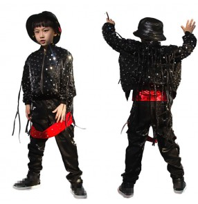 Black hiphop street dance outfits costumes  handmade glitter modern dance gogo dancers drummer video model performance jacket and pants