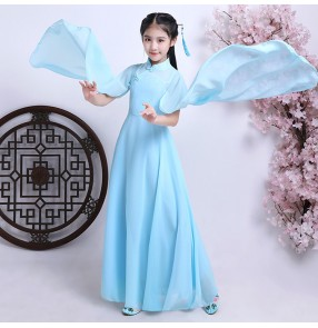 Ancient Chinese folk dance dresses light blue  for girls fairy children piano stage performance drama princess competition drama cosplay dresses