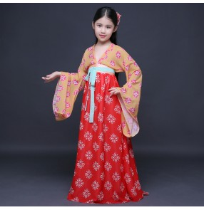 Chinese folk dance costumes ancient traditional hanfu for girls fairy princess photos model show party drama cosplay robe dresses
