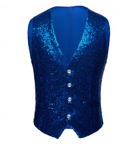 Men's jazz dance vests paillette royal blue red gold silver singers chorus stage performance night club ds dj host competition model show cosplay waistcoats