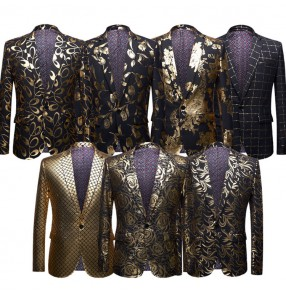 Men's jazz dance coats singers gold printed rose floral chorus host evening party competition stage performance blazers
