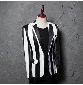 white and black jazz dancing blazers Striped singers chorus long sleeves stage performance competition host party cosplay coats