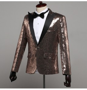 Men's singers blazers male champagne paillette magician jazz night club dance host chorus stage performance Halloween party dancing jacket coats