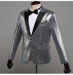 Singers stage performance paillette blazers for men's male silver color jazz competition host night club dj ds dancing jacket coats