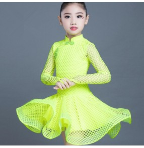 Girls lace latin dresses competition stage performance professional rumba ballroom salsa chacha dancing costumes dresses