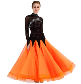 Competition ballroom dress for women girls orange with black diamond long sleeves stage performance waltz tango chacha dancing long dresses