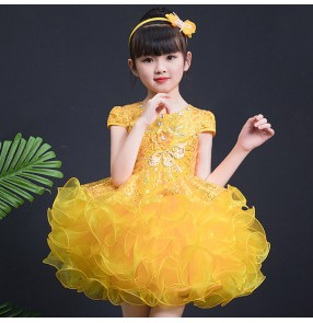 Jazz dance dresses for girls kids children yellow blue pink paillette glitter princess chorus modern dance singers host Halloween party performance dress