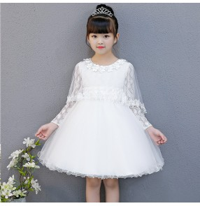 Girls princess stage performance dresses kids white pink red jazz singers flower girls evening wedding party photos cosplay costumes