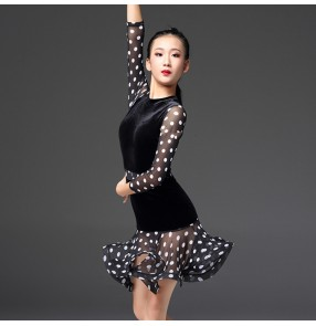 Girls white polka dot latin dresses velvet black ballroom long sleeves competition salsa chacha rumba dancing costumes