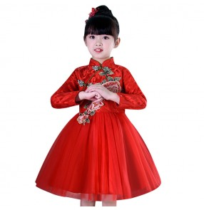 Lace girls singers dresses china style red rose princesses modern dance chorus host Halloween party cosplay stage performance dresses skirts
