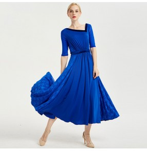 Women's ballroom dancing dresses lace red royal blue flamenco competition professional long length dresses