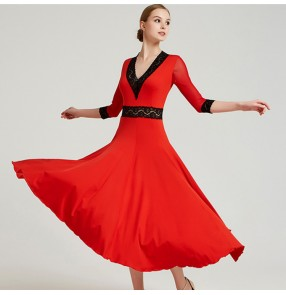 Women's ballroom waltz tango dancing dress red black violet professional stage performance long length competition dresses