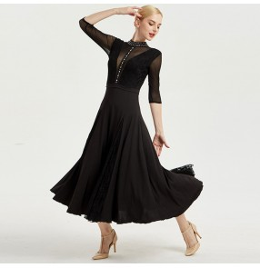 Women's ballroom dresses turquoise black waltz tango dancing dresses lace long sleeves professional dress