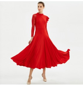 Ballroom dancing dresses  for women female red blue lace long sleeves competition professional waltz tango dancing long dresses skirts