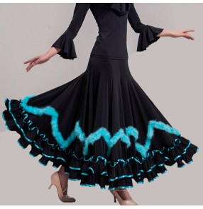 Custom size Ballroom competition dancing skirts stage performance competition gymnastics flamenco waltz tango dancing skirt