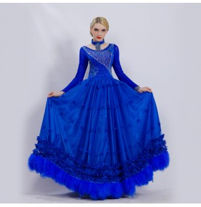 Custom size royal blue ballroom dance dresses for women competition waltz tango dance long dress with big swing skirts