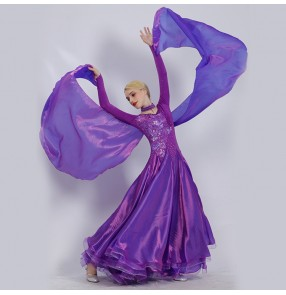 Custom Size Ballroom dance dresses red royal blue violet long sleeves competition stage performance professional waltz tango dancing skirts