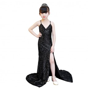 Girls evening party model show stage performance mermaid dresses black sequin for kids children host singers drama cosplay long tailing dresses