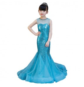 Turquoise evening dresses for girls children princess flower girls singers host piano performance birthday party celebration mermaid dresses