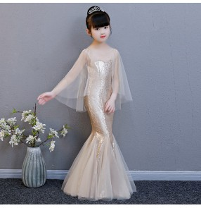 Children evening dresses for girls gold paillette party stage performance singer host model show photos cosplay mermaid dresses