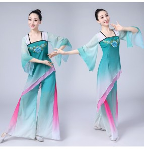 Women's Chinese folk dance costumes for female green fairy gradient stage performance ancient traditional classical yangko cosplay dresses