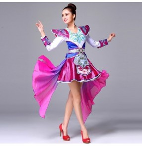 Chinese folk dance costumes for women female Mongolian dance studio cosplay drummer stage performance yangko modern dance dresses