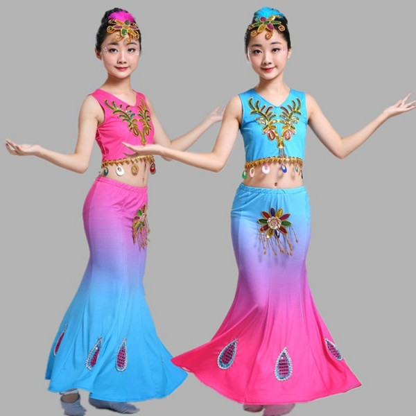 620f382f11dc Children Indian Traditional dance Dress Sequins Belly Dance Costume Girls  Peacock dance Kids Dai Fish Tail Girl Dance wears