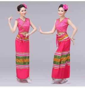 Chinese folk dance costumes for women Songkran Festival Dance Performance Thailand Yi Nationality Fishtail Skirt National Costume Stage Dress