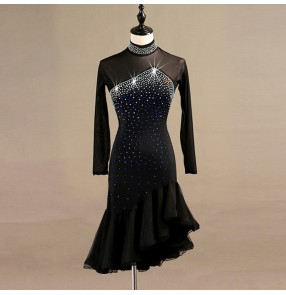 Women's latin ballroom dancing dresses Abito femminile latino rhinestones long sleeves ruffles irregular hem skirts chacha rumba samba dancing dress dancewear