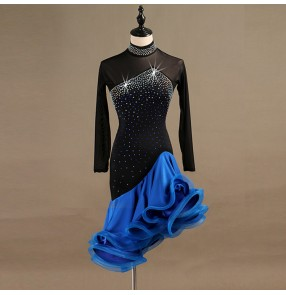 Black with royal blue latin dresses ballroom dresses robe latine for women girls stage performance rumba salsa chacha dancing dresses ruffles skirts