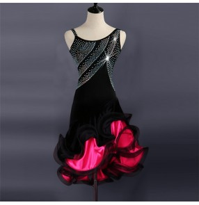 Women's children latin dancing dresses rhinestones black red pink patchwork stones competition ballroom salsa chacha rumba dancing cosutumes