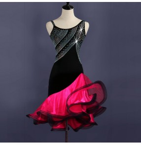 Women's latin dancing dresses pink with black patchwork samba salsa chacha rumba dancing dresses rhinestones stage performance professional skirts