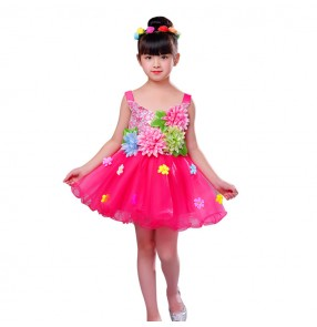 Children jazz singers chorus dancing dresses princess modern dance stage performance flower girls host party cosplay dresses costumes