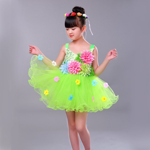fb321547a0 Children jazz singers chorus dancing dresses princess modern dance stage  performance flower girls host party cosplay dresses costumes