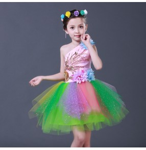 Modern dance rainbow fairy dresses for girls children kids jazz singers chorus party stage performance dancing costumes puff skirts dress costumes