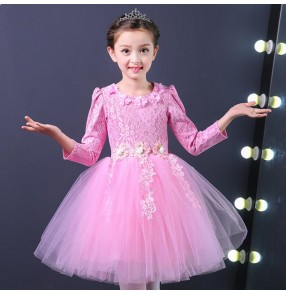 Girls princess modern dance chorus dresses lace long sleeves stage performance evening party dance school flowers girls dresses
