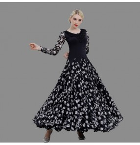 Custom size Black and white floral flamenco ballroom dancing dresses professional waltz tango competition stage performance dance clothes