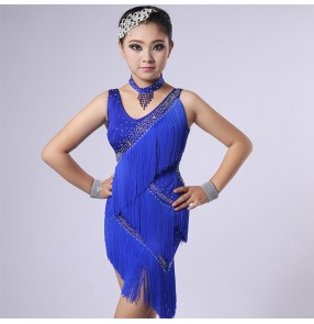 Girls children competition stage performance latin dancing dresses tassels violet royal blue red rumba salsa chacha dancing costumes