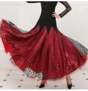 Polka dot red ballroom dancing skirts modern dance competition stage performance professional long length skirts